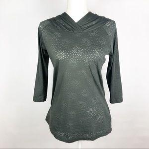 Columbia Sportswear Gray Green 3/4 Sleeve Pullover